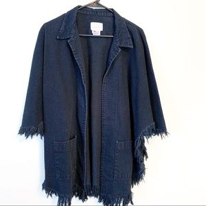 Sundance Denim Frayed Fringe Poncho Open Jacket
